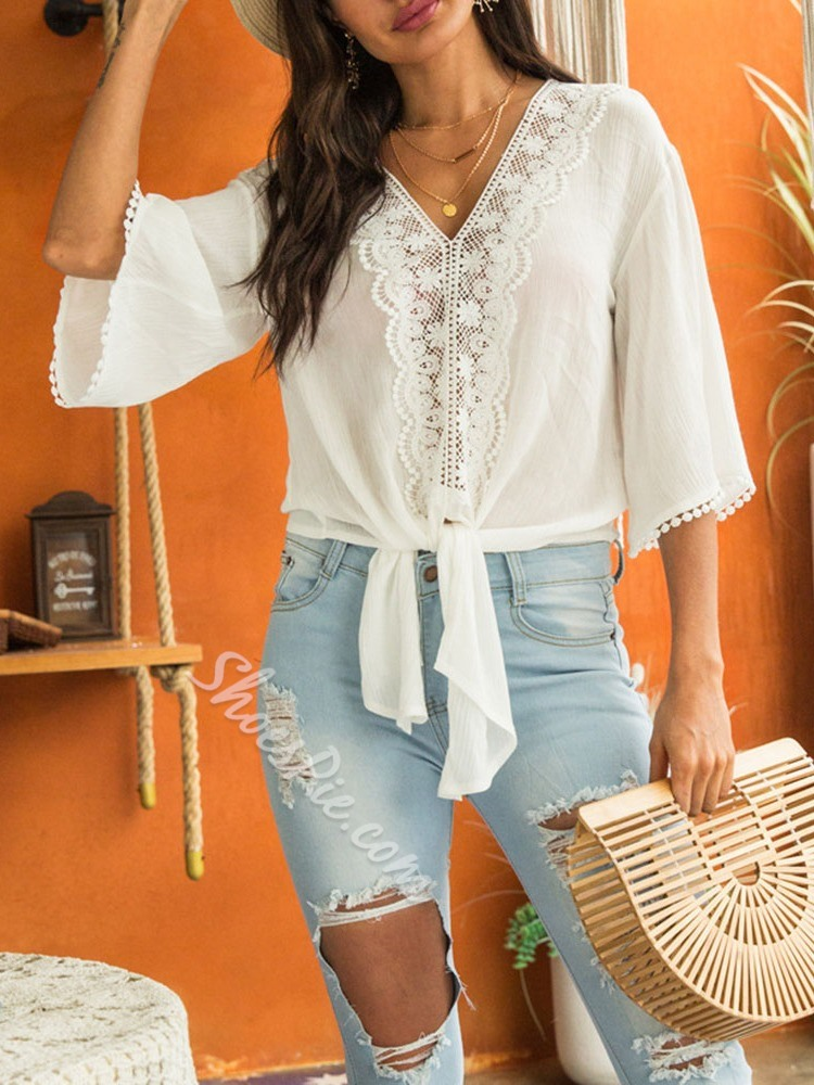 Sweet Lace-Up Lace Flare Sleeve V-Neck Women's Blouse