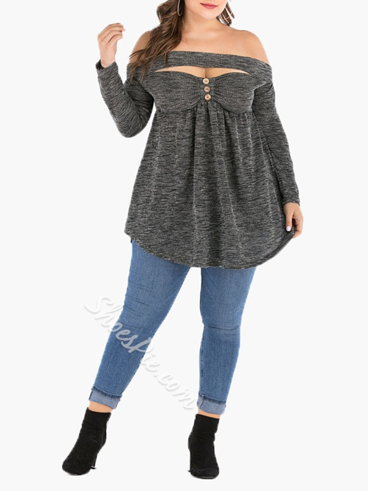 Plus Size Casual Loose Hollow Off Shoulder Long Sleeve Women's T-Shirt