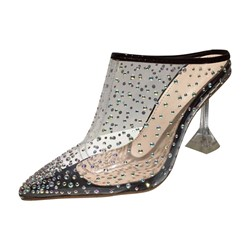 Shoespie Trendy Stiletto Heel Slip-On Rhinestone Slippers