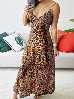 Casual Sexy Spaghetti Strap V-Neck Leopard Print Women's Dress
