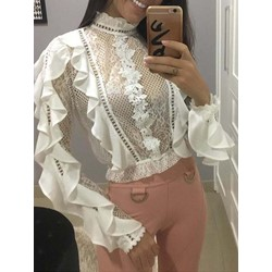 White Sweet Lace Falbala Long Sleeve Stand Collar Women's Blouse