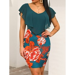 Casual Floral Print V-Neck Short Sleeve Falbala Bodycon Women's Dress