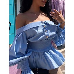 Sexy Off Shoulder Lantern Sleeve Pleated Women's Blouse