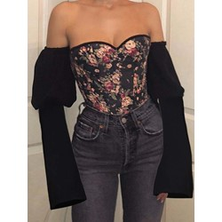 Sexy Floral Print Off Shoulder Backless Lace-Up Puff Sleeve Women's Blouse