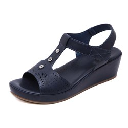 Shoespie Stylish Velcro Wedge Heel Open Toe Thread Sandals