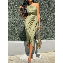 Green Oblique Collar Sleeveless Pleated Split Women's Dress