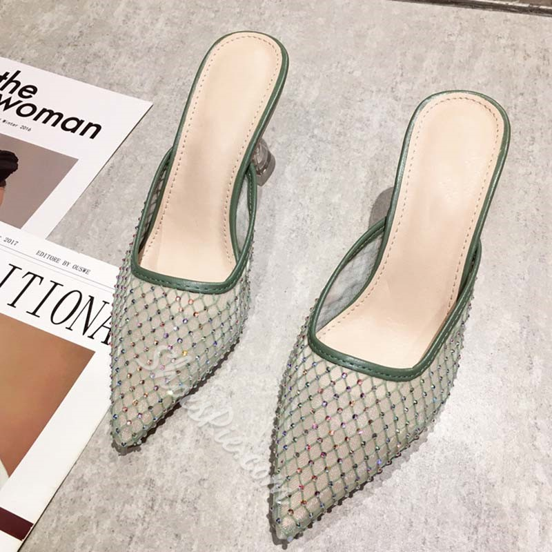 Shoespie Sexy Rhinestone Closed Toe Stiletto Heel Summer Slippers