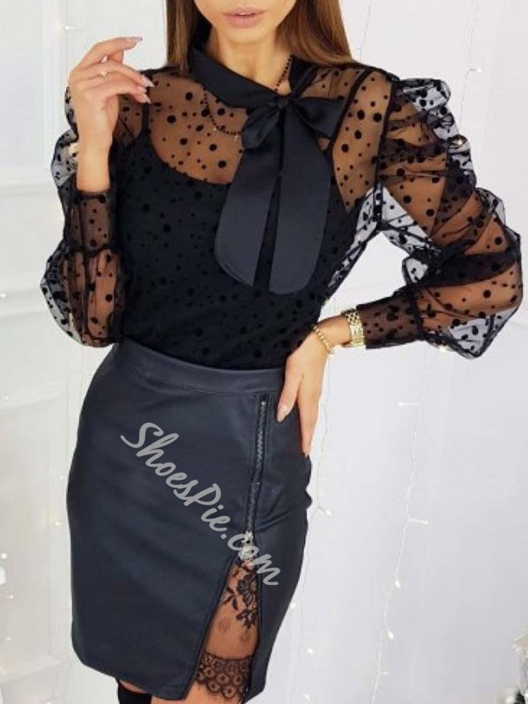 Sweet Black Bowknot Mesh See-Though Puff Sleeve Women's Blouse
