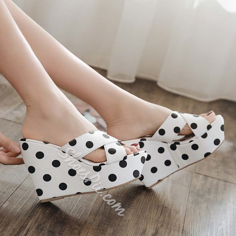 Shoespie Stylish Cross Strap Print Summer Wedge Sandals