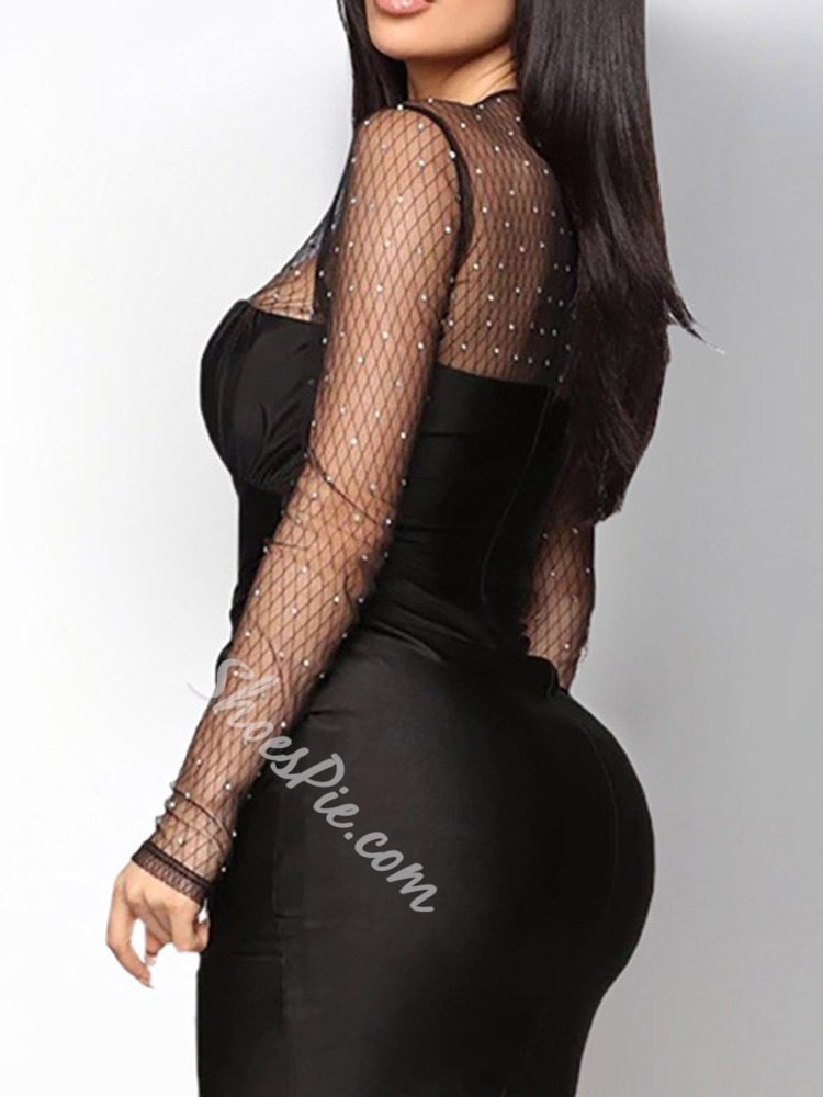 Black See-Through Mesh Rhinestone Long Sleeve Pleated Bodycon Women's Dress