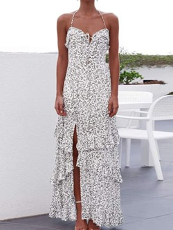 Sexy Floral Print Stringy Selvedge Sleeveless Floor-Length Women's Dress