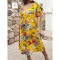 Plus Size Yellow Bow V-Neck Floral Print Half Sleeve Women's Dress