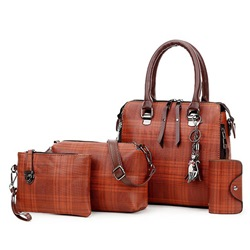 Shoespie PU Plaid Thread Rectangle Four Bags Set