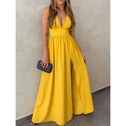 Yellow V-Neck Floor-Length Sleeveless Split High Waist Women's Dress