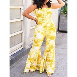 Casual Yellow Spaghetti Strap Print Bellbottoms Women's Jumpsuit