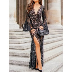 Sexy Black V-Neck Lace Floor-Length Flare Sleeve Bodycon Women's Dress