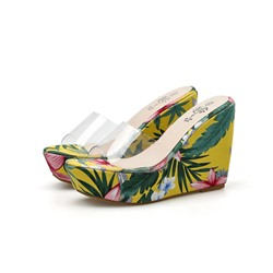 Shoespie Stylish Floral Print Slip-On Wedge Sandals