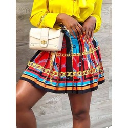 Shoespie Vintage Print Color Block Pleated Women's Mini Skirt