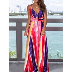 V-Neck Spaghetti Strap Sleeveless Floor-Length A-Line Women's Dress
