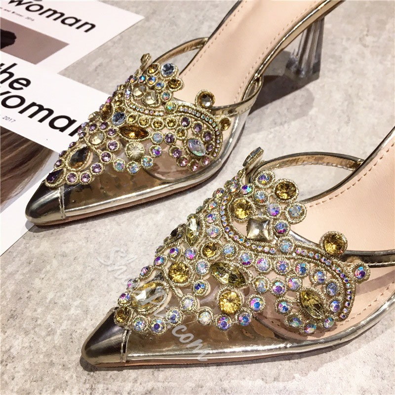 Shoespie Sexy Closed Toe Rhinestone Slip-On Summer Slippers