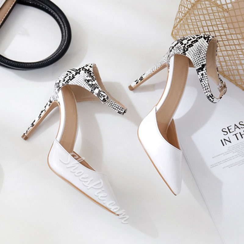 Shoespie Stylish Heel Covering Pointed Toe Line-Style Buckle Serpentine Sandals