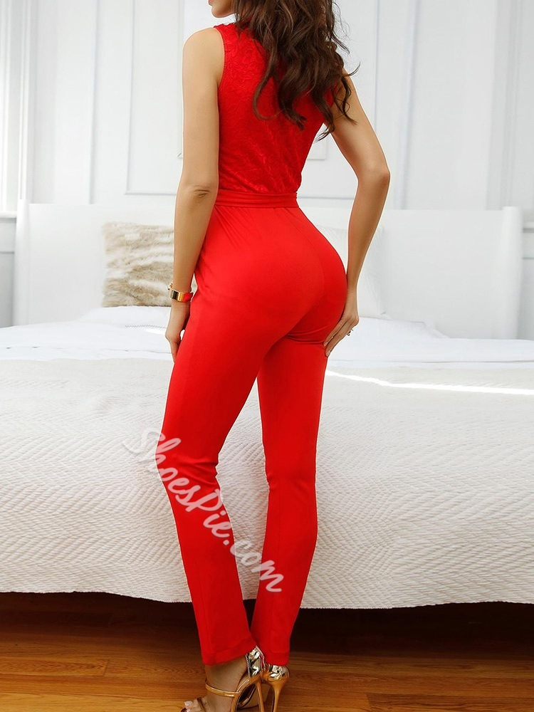 Stylish Red Stand Collar Lace Sleeveless Bowknot Slim Women's Jumpsuit