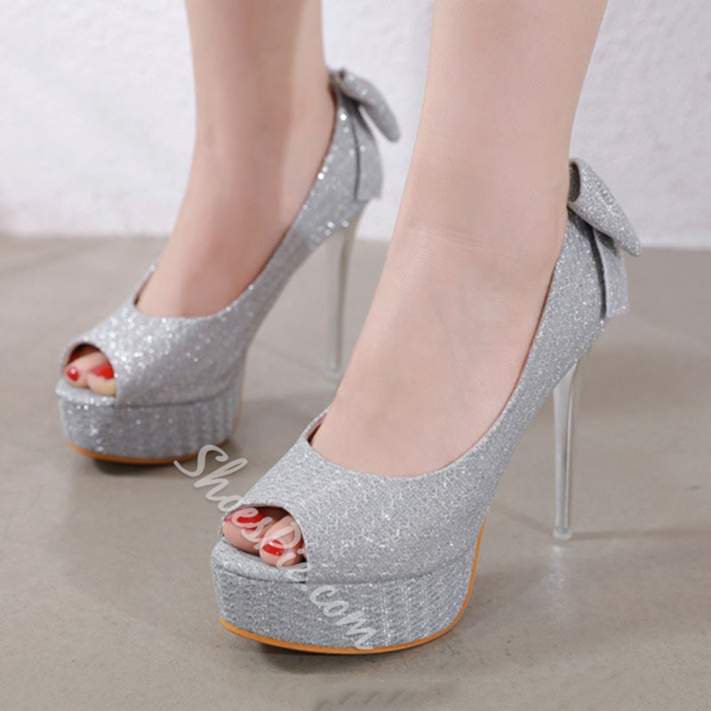 Shoespie Stylish Stiletto Heel Slip-On Peep Toe BowThin Shoes