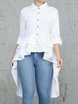 Casual White Single-Breasted Three-Quarter Sleeve Swallowtail Women's Blouse