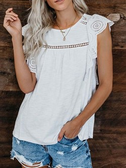 White Sweet Lace Round Neck Cap Sleeve Women's Tank Top