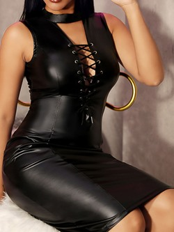 Sexy Black Lace-Up Sleeveless Bodycon Women's Dress