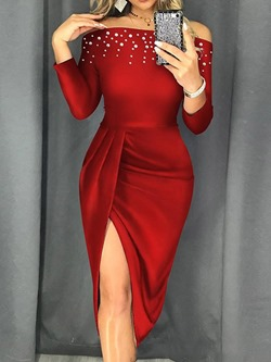 Elegant Red Rhinestone Split Pleated Off Shoulder Women's Dress