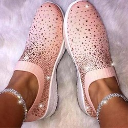 Shoespie Stylish Round Toe Slip-On Rhinestone Low Heel Sneakers