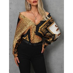 Stylish Geometric Print Single-Breasted Long Sleeve Women's Blouse