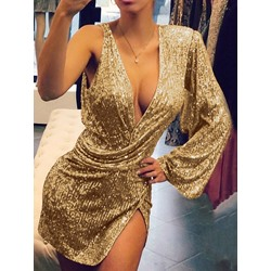 Sexy Sequins V-Neck One Shoulder Split Asymmetric Women's Dress