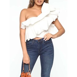 Elegant Oblique Collar Falbala One Shoulder Short Women's Blouse
