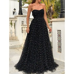 Black Sexy Strapless Sequins Floor-Length Women's Dress