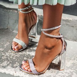 Shoespie Sexy Rhinestone Open Toe Buckle Heel Covering Casual Sandals