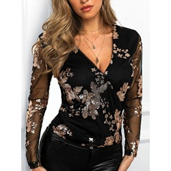 Shoespie Black V-Neck Mesh Long Sleeve Women's Blouse