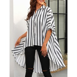 Casual Single-Breasted Stripe Swallowtail Half Sleeve Women's Blouse