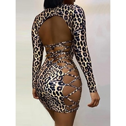 Sexy Hollow U-Neck Lace-Up Long Sleeve Leopard Print Backless Women's Dress