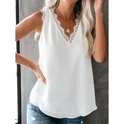 Casual Loose V-Neck Lace Sleeveless Women's Tank Top