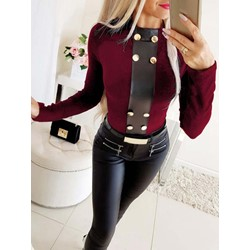 Casual Rivet Patchwork Round Neck Long Sleeve Women's T-Shirt