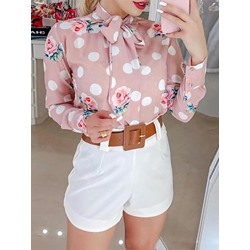 Sweet Pink Floral Polka Dots Print Long Sleeve Bowknot Women's Blouse