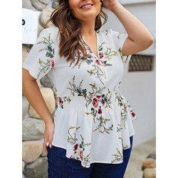 Casual Plus Size Plant Print V-Neck Short Sleeve Falbala Women's Blouse