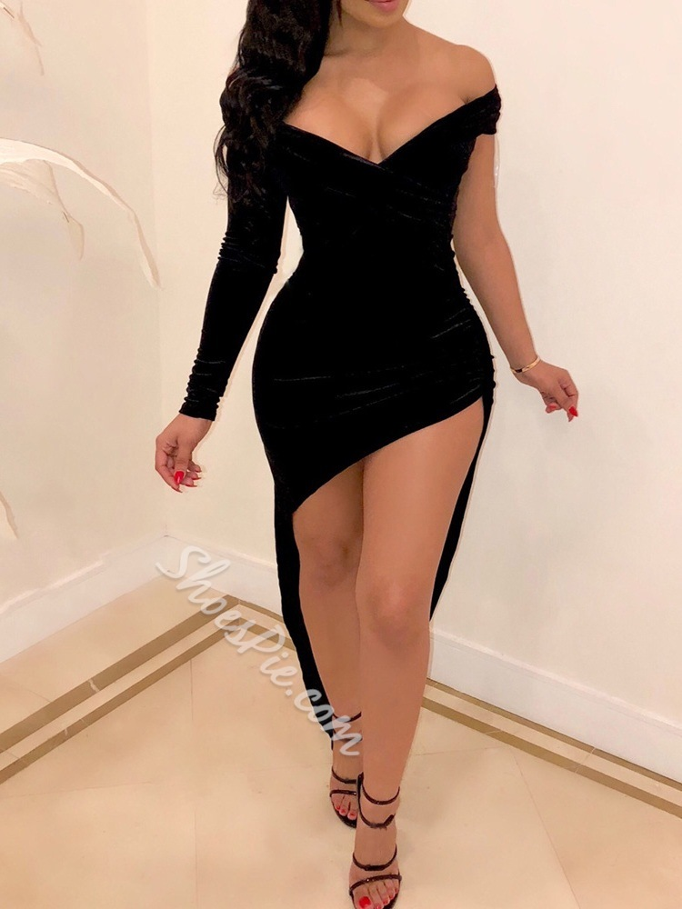 Sexy Black Off Shoulder Asymmetric Floor-Length Bodycon Women's Dress