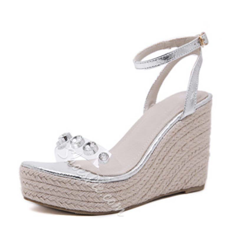 Shoespie Sexy Rhinestone Line-Style Buckle Open Toe Wedge Sandals