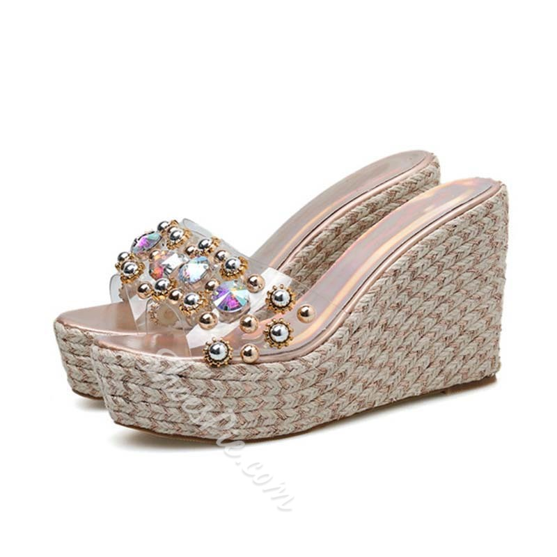 Shoespie Trendy Rhinestone Slip-On Wedge Sandals