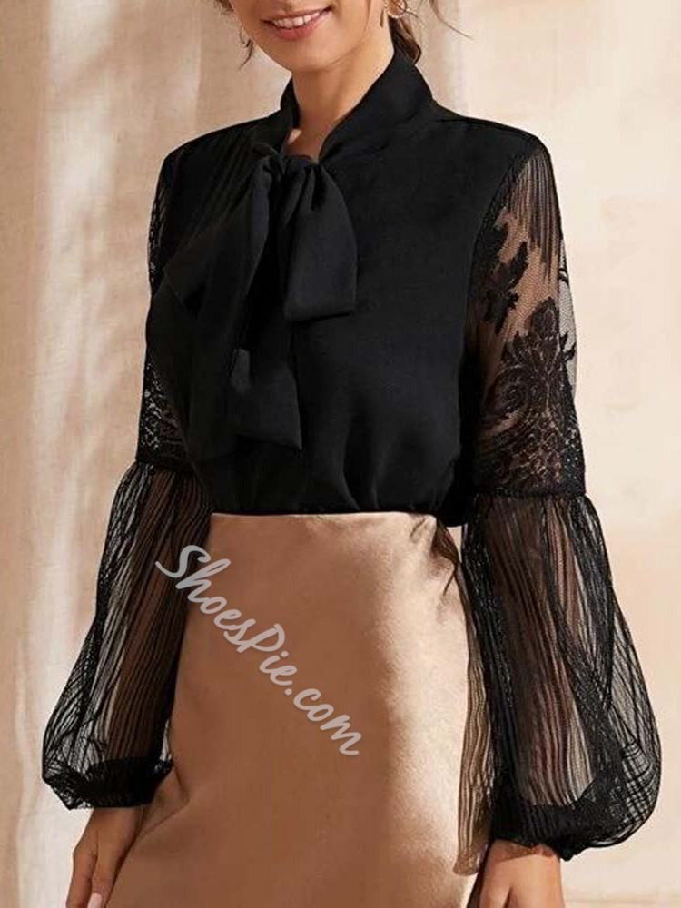 Elegant Bowknot Lace Mesh Long Sleeve Women's Blouse