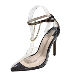 Shoespie Stylish Chain Line-Style Buckle Stiletto Heel Pointed Toe Sandals