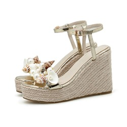 Shoespie Stylish Wedge Heel Open Toe Line-Style Buckle Thread Sandals